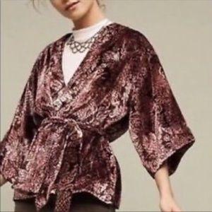 Anthropologie Burgundy Floral Velvet Kimono Jacket